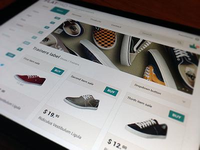 Flatpad Mockup #02 Store user interface flat design example boxes website webdesign store commerce