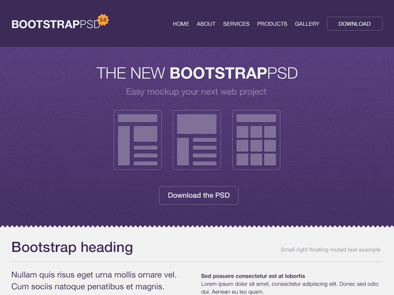 Bootstrap 3.0 PSD bootstrap psd freebie mockup wireframes photoshop template website