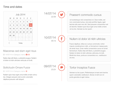 Wiredpad Orange, time and dates clean timeline date website template photoshop psd wireframes bootstrap mockup social comments