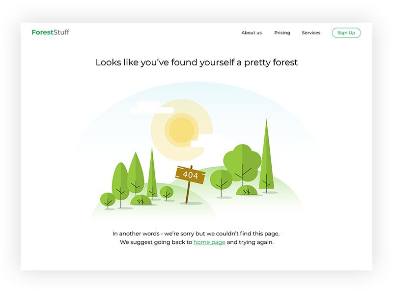Forest 404 page ui landscape web design user interface design illustration tree forest 404 page