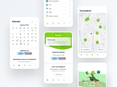 Recycle! green design application recycling recycle app design app experience design ui visual design branding