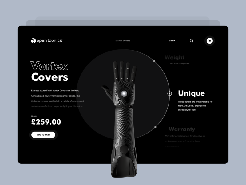 Open bionics product page desktop simple interface minimalism layout ui ux design concept hero arm bionic product