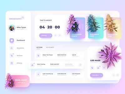 Grow Happy Dashboard UI interface application minimalism cool simple layout desktop design ui ux happy plants