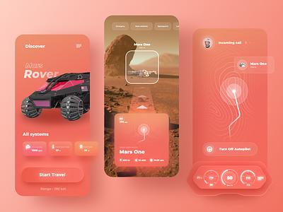 Mars Rover AR Navigator App simple navigator interface concept ui minimalism ar app neomorphism layout ux app mars