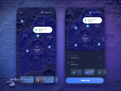 Drone Taxi Mobile Application ui spacex moon ios interface future design concept application app
