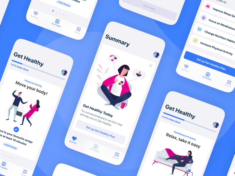 Get Healthy! 🏃‍♂️🧘‍♀️🏊‍♂️ healthcare health ios minimalism steps tasks blue illustration ui ux mobile app