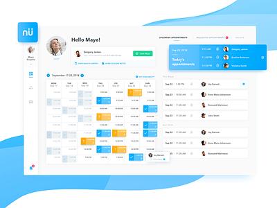 Nutrimedy - Telehealth Platform platform tiles calendar user interface user experience application desktop application management data management panel desktop dashboard