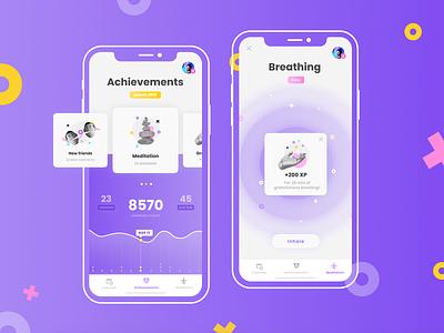 Meditation App 🧘♀️ mindfullness rating chart points illustration design ui ux sport meditation mobile app app