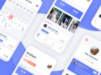 Pet Sitter - Mobile App 🐾 mobile application tasks dashboard ux scheduling animals dogs bottom menu profile tiles blue ui mobile app calendar schedule