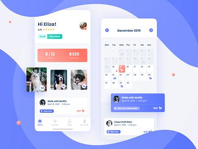 Pet Sitter - Mobile App 🐾 task blue bright app mobile app design animals mobile dashboard calendar ui ux
