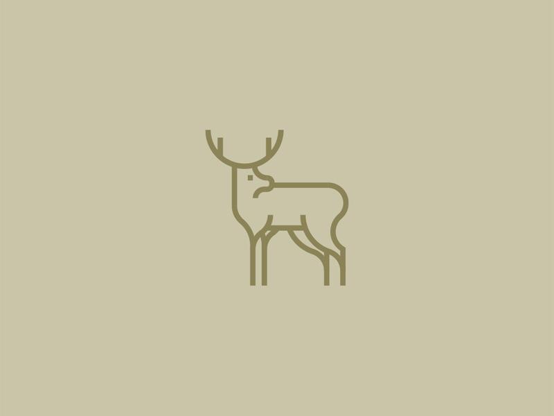 deer monoline lines minimalistic logo monoline deer
