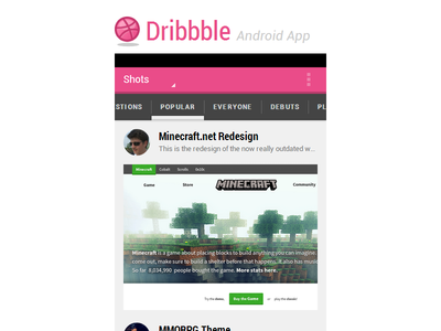 Dribbble Android App - Full CSS