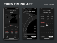 Tides timing app concept. Dark theme.