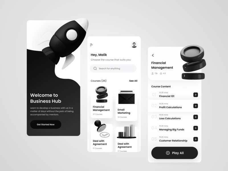 Learn Business App Exploration black icons 3d illustration mobile ui mobile app skillshare udemy learning app business app mobile dark minimalist inspiration light minimal elegant simple clean