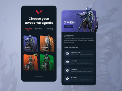 Valorant Agents streamer mobile app game mobile app valorant app esport app games steam app dota 2 minimalist dark inspiration minimal simple elegant clean game app valorant game gaming