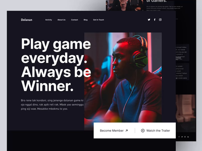 DOLANAN - Gamers Community Landing Page homepage esport uiux web website light minimalist inspiration simple minimal elegant clean landing page ui animation interaction dark ui game website gaming website landing page design landing page