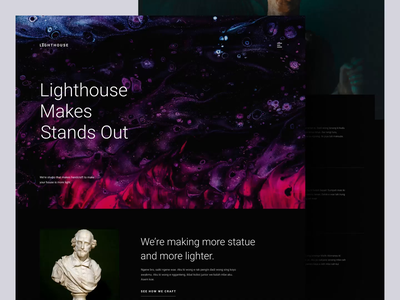 Lighthouse - Custom Statue Store design art homepage ux ui ceramics statue landing page ui landing page design landing page animation website trend dark minimalist inspiration simple minimal elegant clean