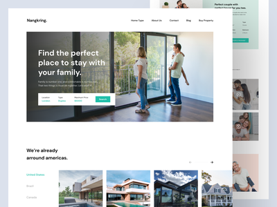 Nangkring - Real Estate Landing Page house rent website real estate branding apartment design real estate landing page real estate website landing page real estate agency airbnb real estate website trend light minimalist inspiration simple minimal elegant clean