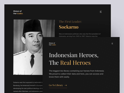 Our Leader - Special Shot on Indonesian Heroes' Day web design landing page design uiux ux ui after effects dark ui micro-interaction homepage animation landing page website trend minimalist inspiration simple minimal elegant clean dark