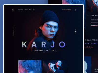 KARJO - Fashion Style Landing Page moodboard cinematic web fashion app fashion web colorful interaction user interface ui web design homepage landing page website dark light minimalist inspiration simple minimal elegant clean