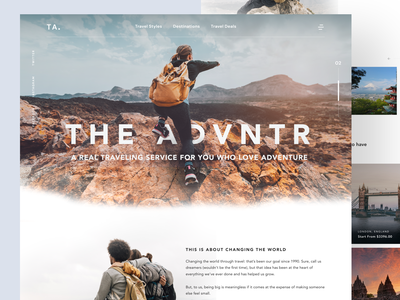 THE ADVNTR - Travel Agency Service web design homepage design travel agency adventure travel agency web homepage trend dark website light minimalist inspiration simple minimal elegant clean