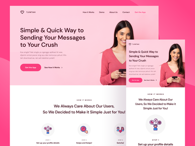 TJINTAH - Dating Web Landing Page dating web tinder pink user interface website design web design homepage landing page website light minimalist inspiration simple minimal elegant clean
