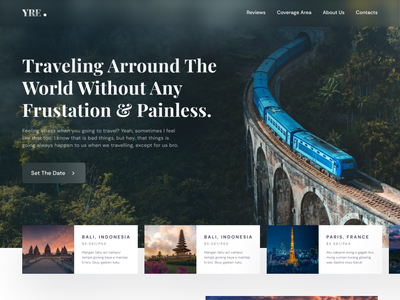 YRE - Travel Agency Landing Page layouts user interface travel homepage holiday website traveling website travel website travel app travel agency traveling homepage web design landing page website light minimalist inspiration simple minimal elegant clean