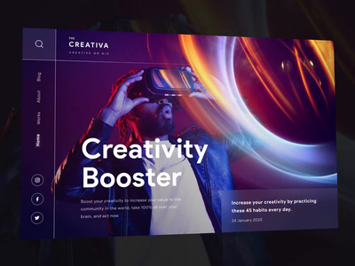Creativa - Creative or Die cyber dark ui web animation microinteraction animation header user interface ui dark homepage web design landing page trend website minimalist inspiration simple minimal elegant clean
