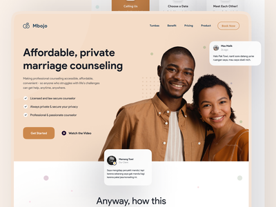 Mbojo - Marriage Counsellor homepage design homepage ui visual design user experience ux ui user interface web design ui homepage web design landing page trend website light minimalist inspiration simple minimal elegant clean