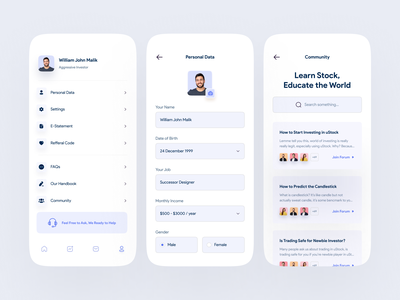 uStock - Profile & Community ios app simple app user experience ux profile setting forum community profile user interface design ui minimalist trend light inspiration simple minimal elegant clean
