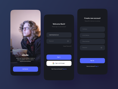 Abda - The Beginning welcome screen dark theme dark mode dark app loading splash screen login movie app ios design user interface ui dark trend minimalist inspiration simple minimal elegant clean