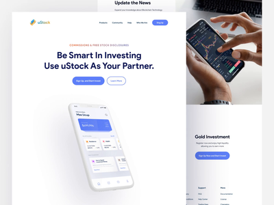 uStock - Web Landing Page Animation bitcoin investment ustock web animation animation web interaction mobile interaction interaction homepage web design landing page website trend light minimalist inspiration simple minimal elegant clean