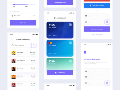 JemPay - Transfer Money App payment wallet money mastercard visa card sign in filters sign up login credit card user interface ui trend minimalist inspiration simple minimal elegant clean