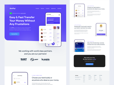 JemPay - Web Homepage Landing typogaphy b2b saas money finance payment ui design design user interface homepage web design ui landing page website minimalist inspiration simple minimal elegant clean