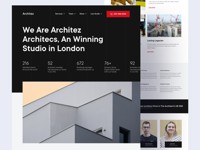 Architez - Architect Studio Agency architecture layout dark web design user interface home homepage trend ui front-page web website landing page light minimalist inspiration simple minimal elegant clean