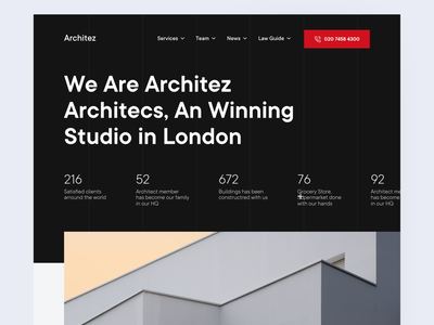 Architez - Architect Studio Agency architecture layout dark web design user interface home homepage trend ui front-page web website landing page light minimalist inspiration simple minimal elegant clean