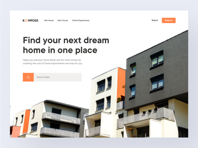 Komposs - Real Estate Agent Website apartments real estate app real estate agency real estate agent real estate web real estate website homepage real estate web design ui landing page website trend light minimalist inspiration simple minimal elegant clean