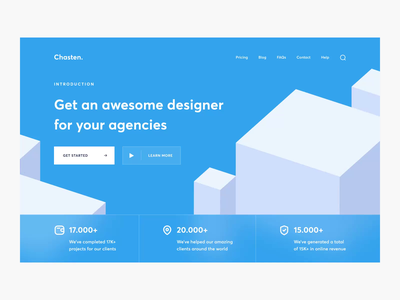 Chasten - Landing Page Web Animation trend interaction portfolio agency website web design simple minimalist inspiration elegant minimal clean blue homepage landing page web website motion graphics 3d animation