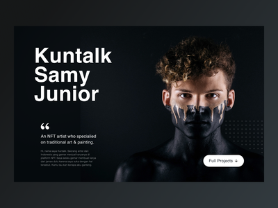 Kuntalk - NFT Artist Portfolio nft portfolio freelancer artist art landing page website web design dark minimalist simple layout typography eth crypto nft marketplace design ui blockchain crypto wallet