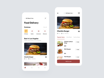 Food Delivery App typography food app eat burger concept uxdesign uidesign delivery flat delivery app fireart minimal clean mobile interface ios app design ux ui