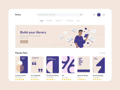 Booksy : Online Book Shop flat design books bookstore typography web app illustration concept web fireart minimal clean interface design ux ui