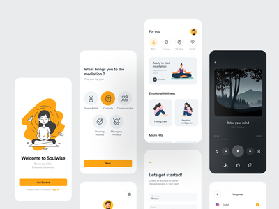 Soulwise - Meditation App fireartstudio concept calmness typography illustration meditation app mobile fireart minimal ios clean interface app design ux ui