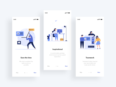 Onboarding Screens interface ios onboarding flat app illustration ux ui design