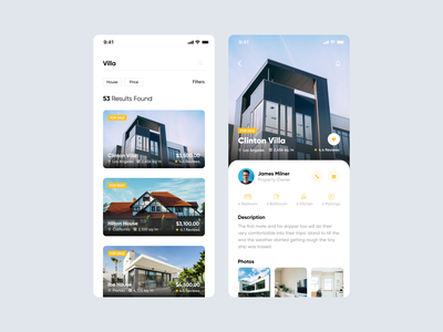 Search - Real Estate App fireartstudio yellow typography type modern concept real estate realestate clean minimal ios mobile interface app ux design ui