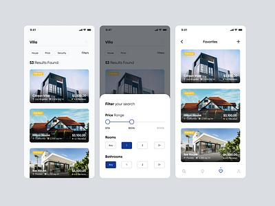 Filter Screen - Real Estate App real estate fireartstudio typogaphy modern realestate concept clean minimal ios mobile interface app ux design ui