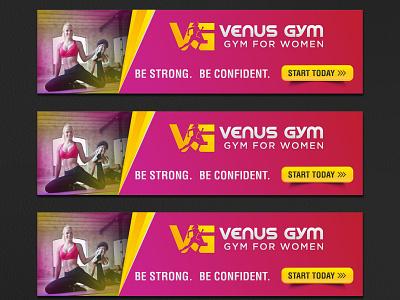 Fitness Banner Ad logo bannerads ads feminine woman gym fitness branding ad banner