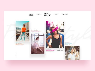 Moda Week logo photograph social parallax animation branding web fashion art typography ux ui