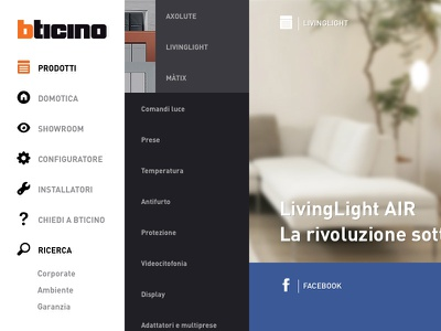 Bticino website navigation bticino responsive mobile graphic design creative direction white social