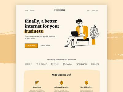 SmartFiber - Landing Page Concept brands business illustration website web design marketing site offer fiber internet marketing design cta