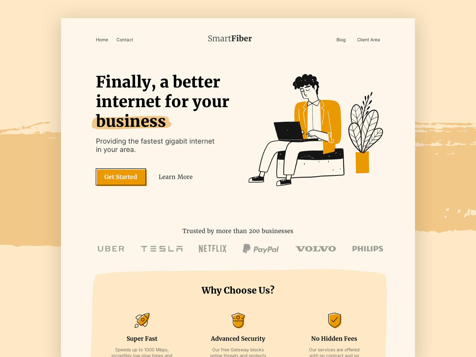 SmartFiber - Landing Page Concept